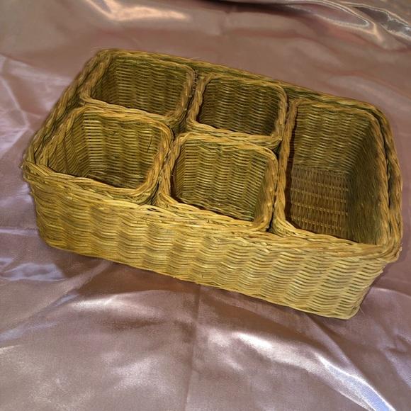Vintage woven wicker organizer basket